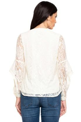 Womens Mandarin Neck Lace Top