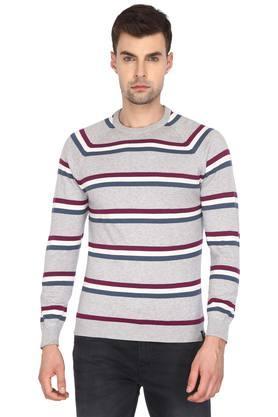 VAN HEUSEN SPORTMens Round Neck Stripe Sweater