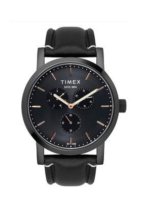 Mens Black Dial Leather Multi-Function Watch - TWEG16610