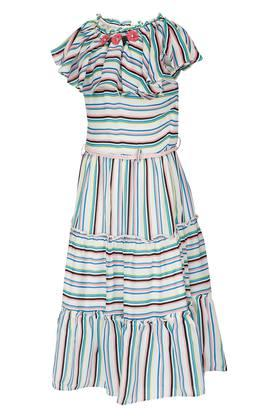Girls Round Neck Striped Maxi Dress