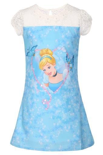 Girls Round Neck Printed Sheer Yoke Dress