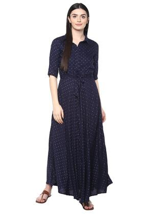 Womens Printed Flare Maxi Dress with Belt