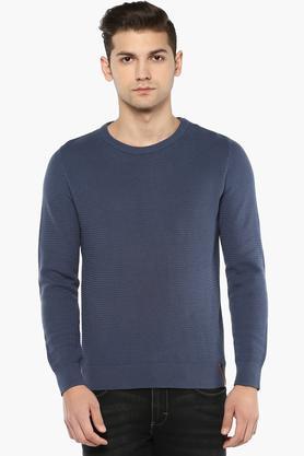 BLACKBERRY URBANMens Round Neck Self Pattern Sweatshirt