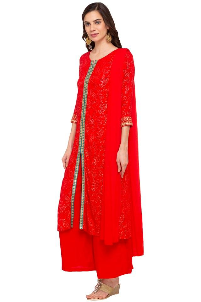 Womens Notched Neck Embroidered Palazzo Suit