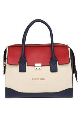 U.S. POLO ASSN.Womens Metallic Lock Closure Satchel Handbag