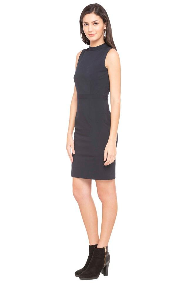 Womens Round Neck Solid Bodycon Dress