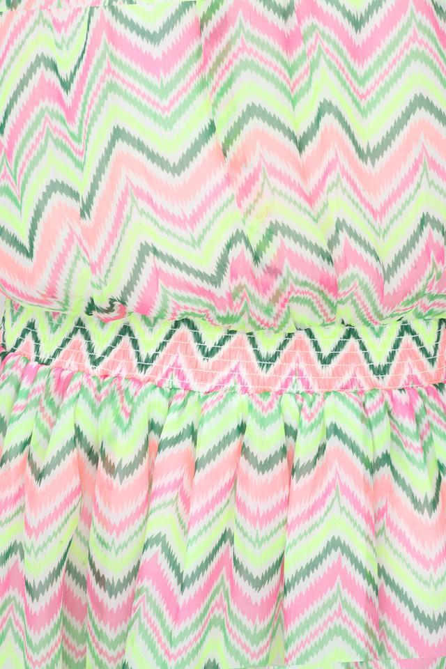 Girls Square Neck Printed Knee Length Dress
