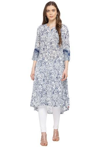 68ebea10f4 Buy BIBA Womens Mandarin Collar Floral Print Kurta | Shoppers Stop