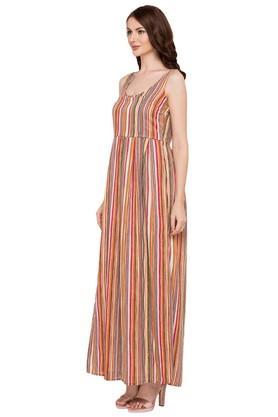 Womens Round Neck Striped Maxi Dress