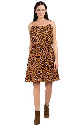 Womens Strappy Neck Printed Skater Dress
