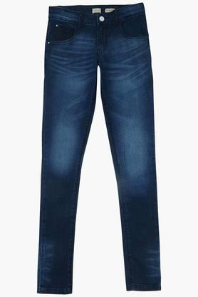 Girls 5 Pocket Solid Jeans