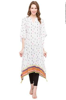 HAUTE CURRY Womens Mandarin Neck Printed Kurta - 203880266