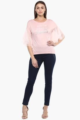 Womens Round Neck Graphic Print Top