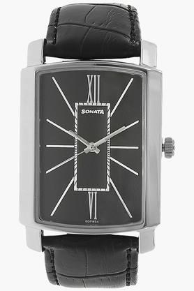 SONATABlack Dial Leather Strap Watch - 7092SL05