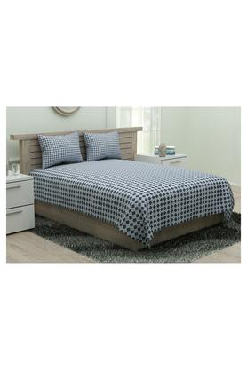 PORTICO Geometric Printed Double Bed Sheet With Pillow Cover - 204802338_9900