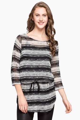 Womens Round Neck Drop Waist Stripe Top