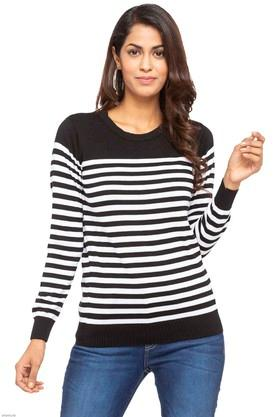 FEMINA FLAUNT Womens Round Neck Stripe Sweater - 203457920_9213