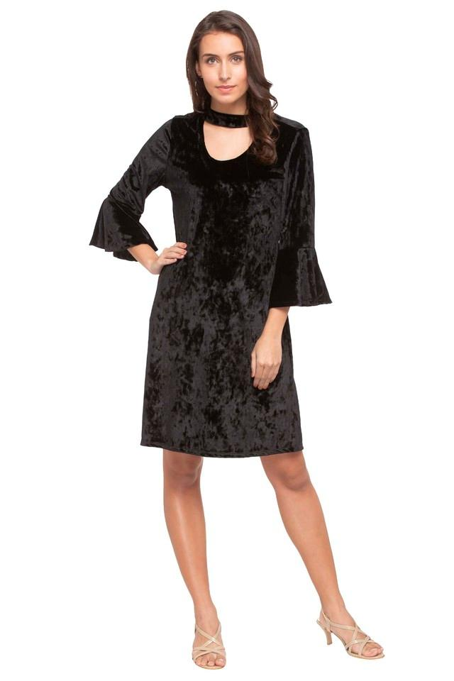 Womens Band Neck Solid Knee Length Dress
