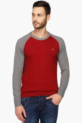 AEROPOSTALE Mens Round Neck Colour Block Sweater