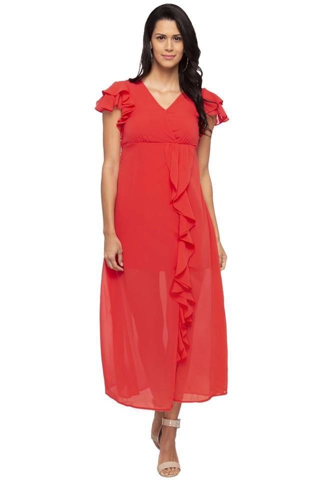 Womens Surplice Neck Solid Calf Length Dress