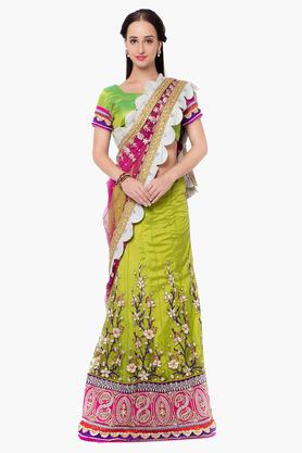 DEMARCA Womens Dupion Net Satin Embroidered Saree