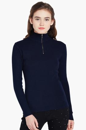 COVER STORY Womens Solid High Neck Sweater