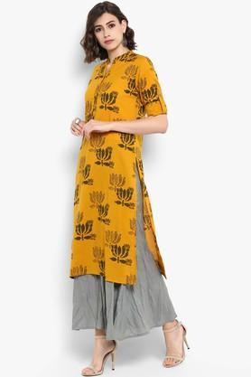 Womens Mandarin Neck Printed Kurta and Palazzo Set