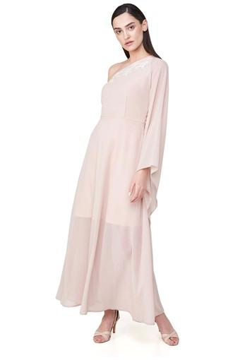 Womens One Shoulder Neck Solid Maxi Dress