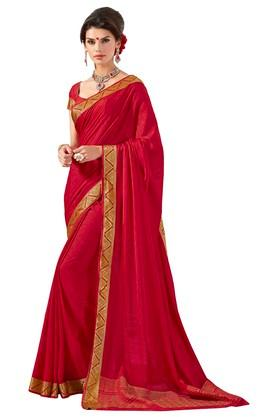 ASHIKA Womens Gold Woven Saree With Blouse Piece