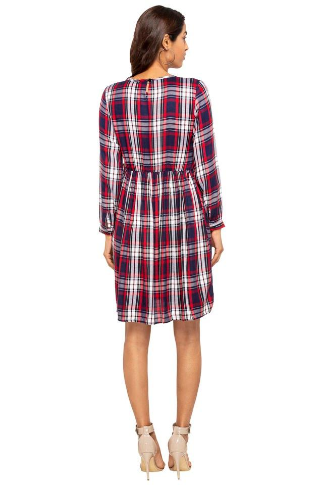 Womens Round Neck Checked A-Line Dress