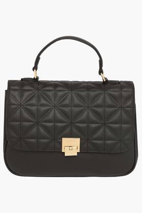 LAVIEWomens Metallic Lock Closure Satchel Handbag