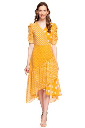 Womens Surplice Neck Polka Dot Asymmetrical Dress