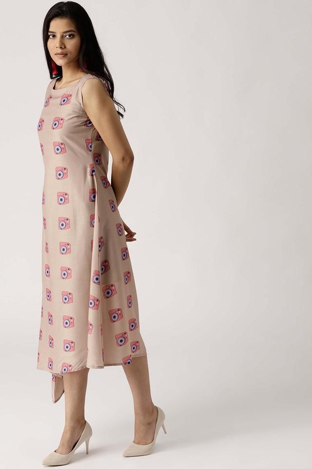 Womens Boat Neck Muslin Printed A-Line Dress