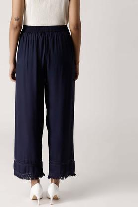 Womens Solid Fringes Palazzos