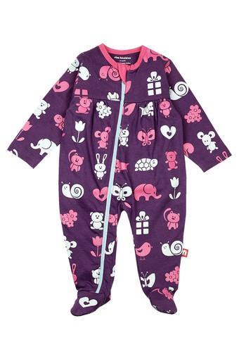 Girls Round Neck Printed Babysuit