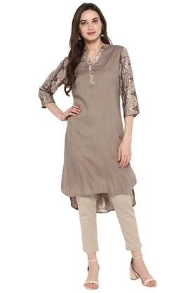 JUNIPER Womens Printed High Low Panelled Kurta With Pant