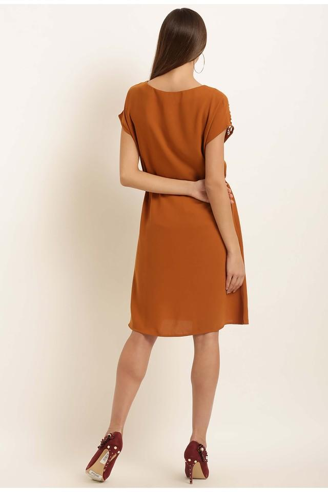 Womens Boat Neck Solid Knee Length Dress