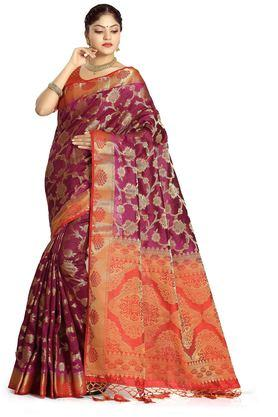 DEMARCA Womens Art Silk Tussar Designer Saree - 204100142_9654