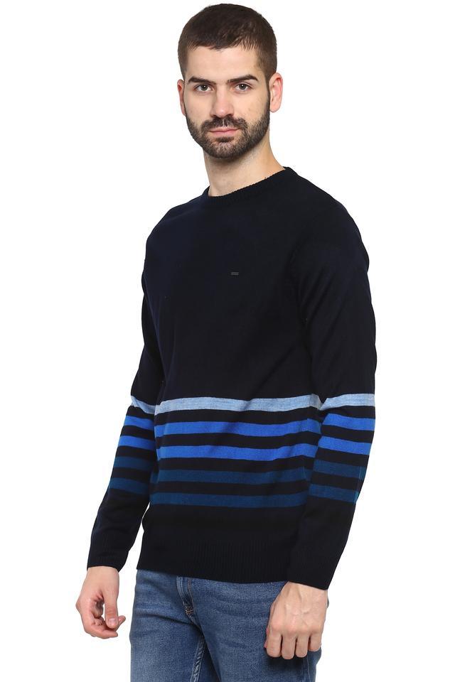 Mens Round Neck Striped Sweater