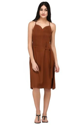 Womens Spaghetti Neck Solid Knee Length Dress