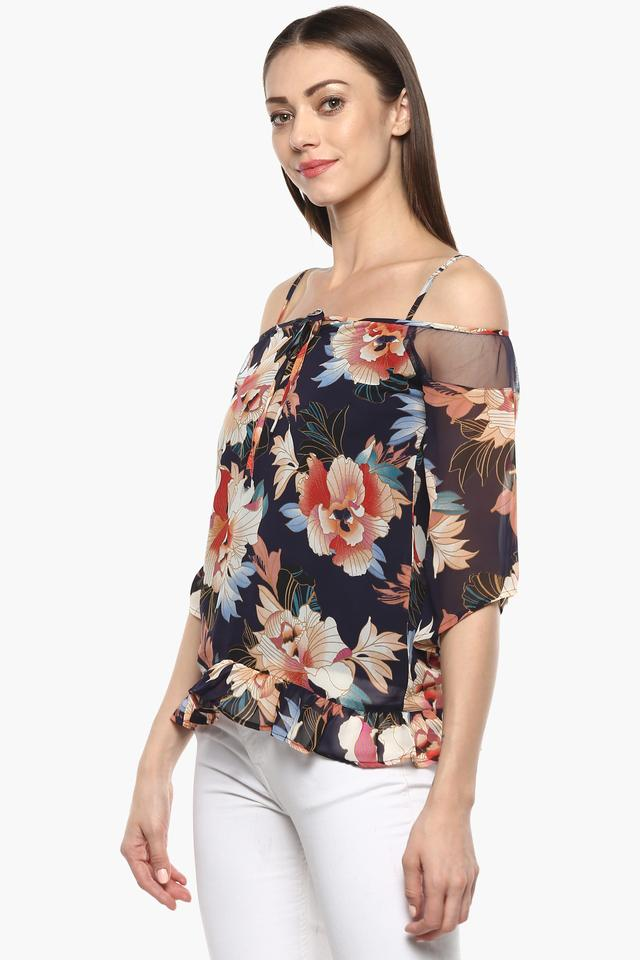 Womens Strappy Neck Printed Top