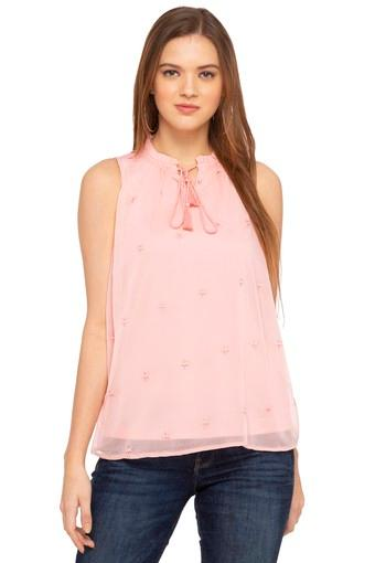 Womens Tie Up Neck Star Embroidered Top