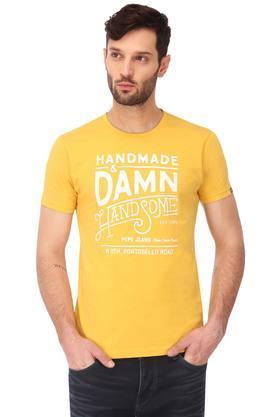 Mens Slim Fit Round Neck Graphic Print T-Shirt
