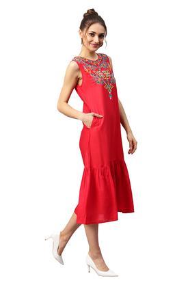 Womens Round Neck Embroidered Drop Waist Dress