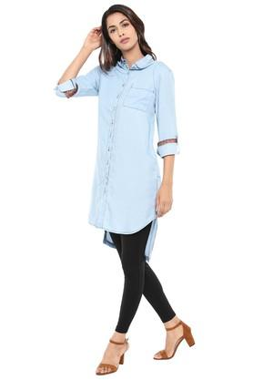 Womens Solid Asymmetrical Denim Dress