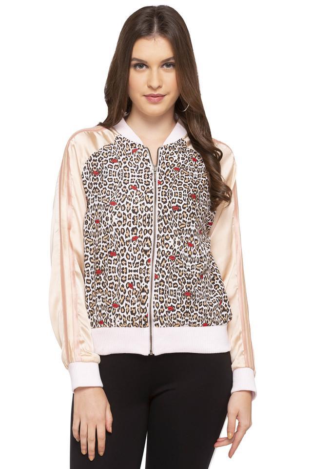 Womens Mao Collar Printed Bomber Jacket