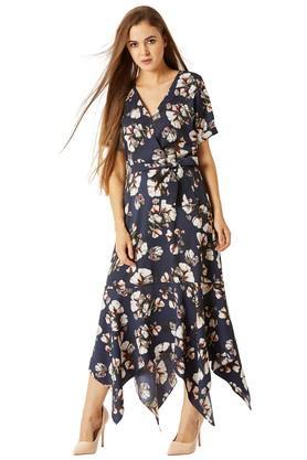 Womens Surplice Neck Floral Print Asymmetrical Dress