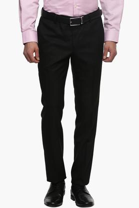 WILLS LIFESTYLE Mens Skinny Fit 4 Pocket Self Pattern Formal Trousers