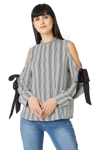 Womens Relaxed Fit Ruffled Collar Striped Top