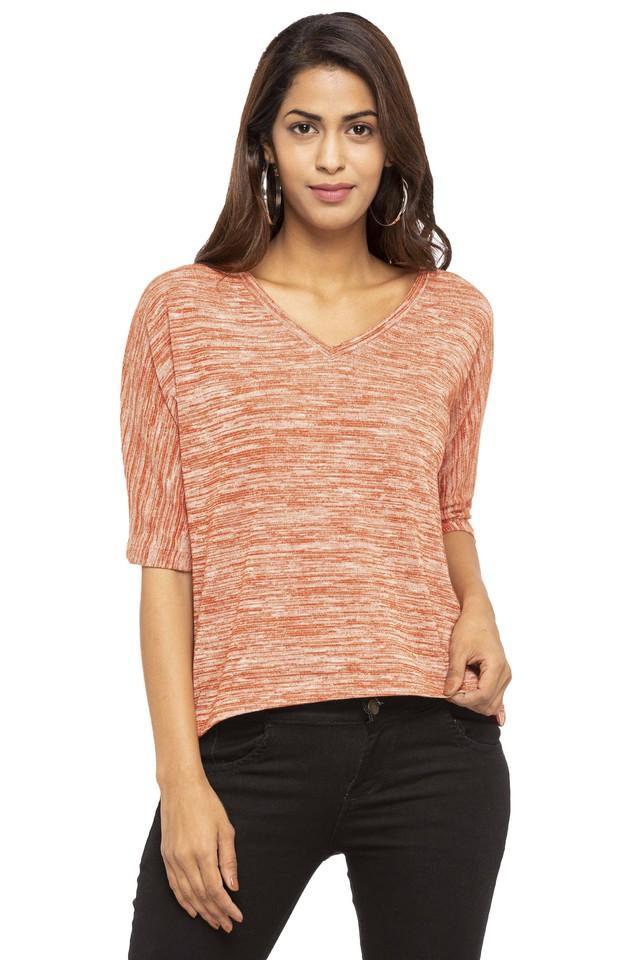 Womens V-Neck Textured T-Shirt